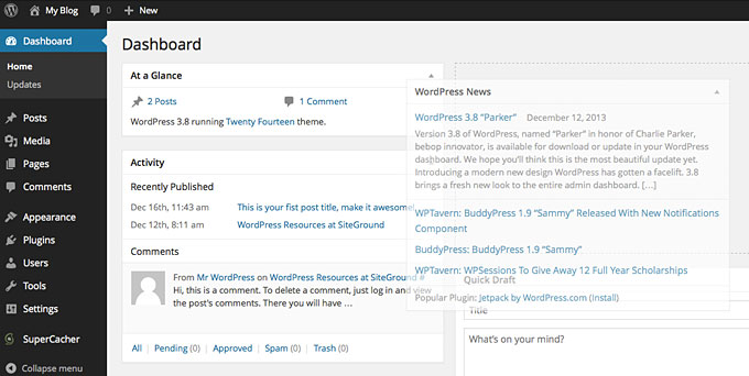 WordPress dashboard1